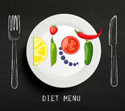 The concept of diet. The concept of diet, nutrition, healthy lifestyles - a plate with the word diet with fruits, vegetables, berries on the chalkboard. Vector Royalty Free Stock Photography