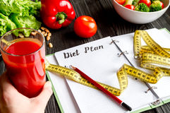 Concept diet, slimming plan with vegetables mock up Stock Image