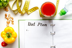 Concept diet, slimming plan with vegetables top view mock up Stock Images