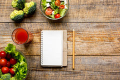 Concept diet, slimming plan with vegetables top view mock up Royalty Free Stock Photo