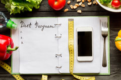 Concept diet, slimming plan with vegetables top view mock up Stock Image