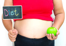 The concept of diet for weight loss Fat women. In the hand hold The label that has the word `diet` `and another hand is the fruit Royalty Free Stock Images