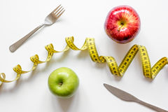 Concept diet and weight loss on white background top view Royalty Free Stock Photography