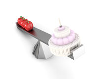 Concept of dieting apples vs cake. 3d image on white background.  Royalty Free Stock Images