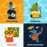 Concept différent humanisé de professions d'animaux Illustration de Vecteur