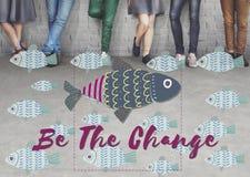 Concept différent unique de graphique de poissons d'individualité Images libres de droits