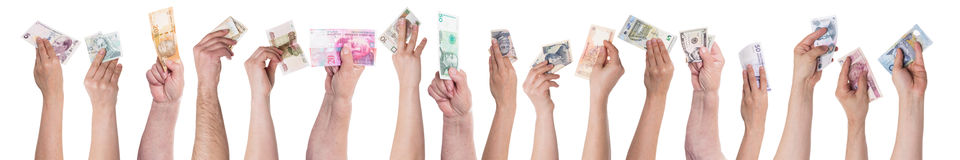 Concept different currencies, crowdfunding Stock Photo