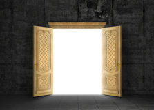 Concept of different dimension. White mysterious portal to another space through a wooden door with a gloomy room outside. Concept of path Stock Photo