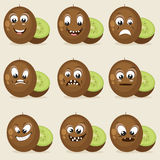 Concept of different expressions with kiwi. Stock Photo