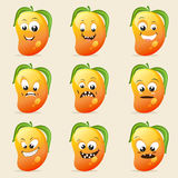 Concept of different expressions with mango. Stock Photos