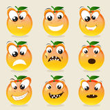 Concept of different expressions with orange. Stock Image