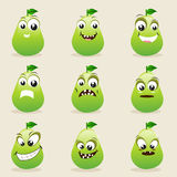 Concept of different expressions with pear. Stock Photography