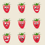 Concept of different expressions with strawberry. Stock Image
