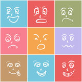Concept of different facial expressions. Set of different facial expressions on colorful background Royalty Free Stock Images