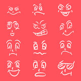 Concept of different facial expressions. Set of different facial expressions on pink background Royalty Free Stock Photo