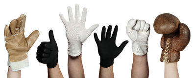 Concept of different gloves Royalty Free Stock Photo