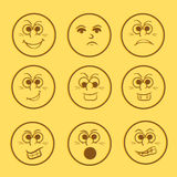 Concept of different smiley set. Royalty Free Stock Images