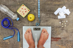 Concept of different ways to lose weight. royalty free stock photos