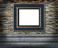 Concept. Difficult way to art. Elegant blue and golden frame over decorative color stone wall background and vintage upstair  foreground Royalty Free Stock Photo