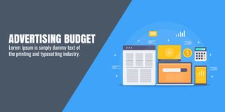 Advertising budget - digital marketing - accounting -finance - money calculation. Flat design vector banner. Concept of digital advertising budget, branding Royalty Free Stock Images