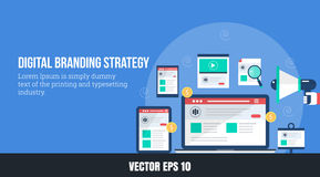 Concept of digital branding - online brand strategy, flat design vector web banner. Digital branding strategy through seo, social media, search marketing and vector illustration