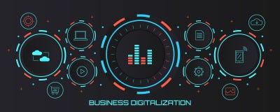 Business digitization - digital transformation concept. Flat design vector banner. Concept of digital business, digital transformation, cloud system, mobile vector illustration
