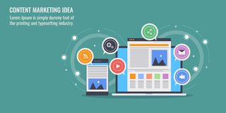 Digital content development and marketing, website traffic increase, online customer engagement concept. Flat design banner. Concept of digital content Royalty Free Stock Images