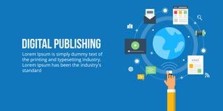 Digital publishing - media content publishing. Flat design concept. Concept of digital content publishing. Different types of digital media publishing worldwide Stock Photos