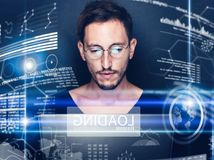 Concept of digital diagram,graph interfaces,virtual display,connections screen, online icon.Young man programmer working Stock Photos
