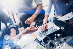 Concept of digital diagram,graph interfaces,virtual screen,connections icon on blurred background.Business meeting Stock Photography