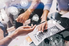 Concept of digital diagram,graph interfaces,virtual screen,connections icon on blurred background. Business meeting Royalty Free Stock Image