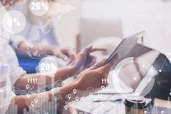 Concept of digital diagram,graph interfaces,virtual screen,connections icon on blurred background.Business meeting Stock Image