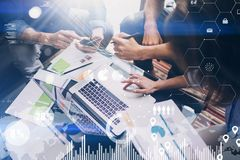 Concept of digital diagram,graph interfaces,virtual screen,connections icon on blurred background.Business meeting Royalty Free Stock Photos