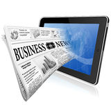 Concept - Digital News. Digital News Concept with Business Newspaper on screen Tablet PC, vector isolated on white background Royalty Free Stock Photos