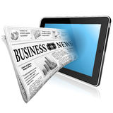 Concept - Digital News with Newspaper. Digital News Concept with Business Newspaper on screen Tablet PC, vector isolated on white background Royalty Free Stock Image