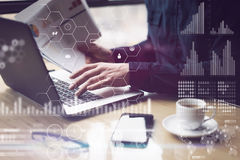 Concept of digital screen,virtual connection icon,diagram,graph interfaces.Man working with laptop at office.Reflections Royalty Free Stock Photography