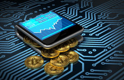 Concept Of Digital Wallet And Bitcoins On Printed Circuit Board. Gold Bitcoins Spill Out Of The Curved Smartphone. 3D Illustration Stock Photos