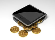 Concept Of Digital Wallet And Virtual Coins Bitcoins Stock Images