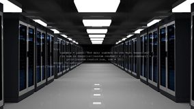 The Concept of: Digitalization of Information Flow Moving Through Rack Servers in Data Center in dark space. stock illustration