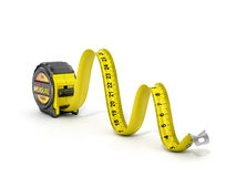 Concept of dimension. Tape measure in firm of snake stock photos