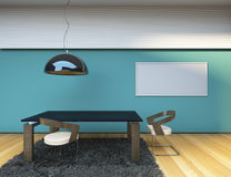 Concept Dining Room. Blue Wall Royalty Free Stock Photo