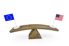 Concept of diplomatic relationship between United States and European Union. 3d render Stock Photo