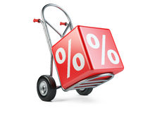 Concept of discount. Hand truck with percent symbol Royalty Free Stock Photo