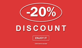 Concept of discount. Discount concept on red background vector illustration