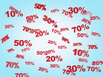 The concept of the discount and sale. collection of discount numbers 10% 20% 30% 50% 70%. Blue background Royalty Free Stock Image