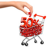 Concept of discount  Shopping cart with sale Royalty Free Stock Photos