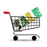 Concept of discount. Shopping cart with sale. Vector illustration. Beautiful letters. Stock Image