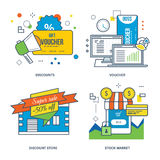 Concept of discounts, voucher, discount store, stock market and shopping Stock Images