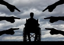 Concept of discrimination against people with disabilities stock photo