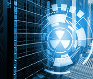 Concept of disk storage data center. Information technology and database on technological background Royalty Free Stock Images